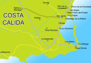 Costa-Calida kaart strand vakantie spanje
