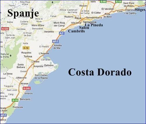 Costa Dorada Daurada Vakantie Kaart Salou Strandenspanje Com