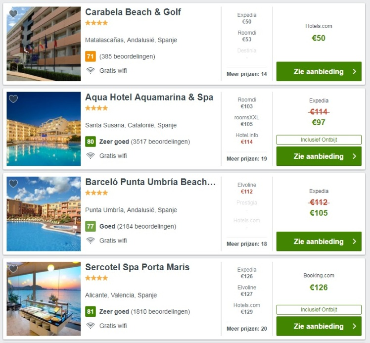 hotels aan het strand spanje