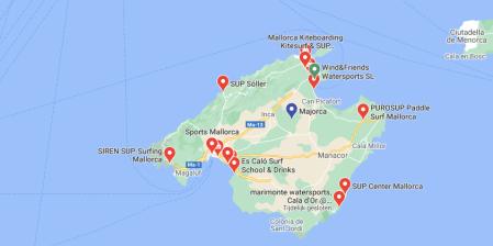 Kaart Mallorca surfscholen en suppen